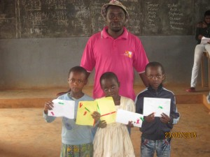 Realization of postcards by children of class 4 of Bamenda